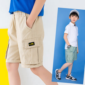 Boys Cotton Casual Short - Beige/Green