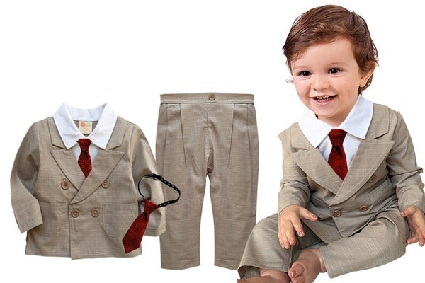 Beige Suit Top & Trouser & Tie Set