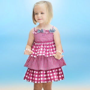 Pink Checked Ribbon Tier Dress