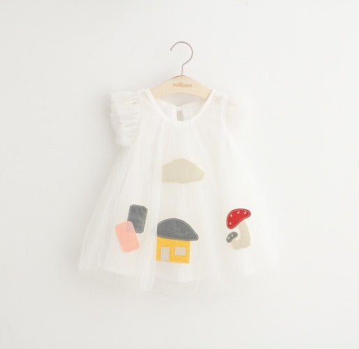 Mushroom House Dress- White