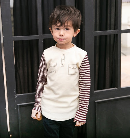 Boys Cream Cotton Top - Long Sleeves