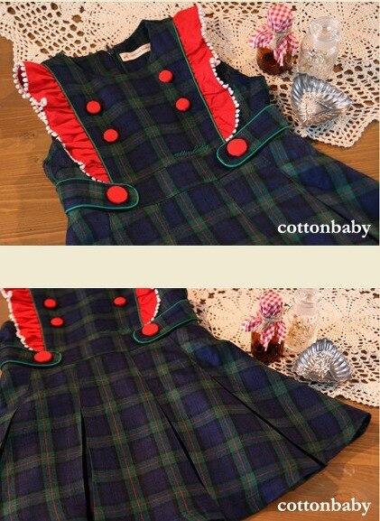Luxury Girls Navy Green Checked Dress (Made in Korea)