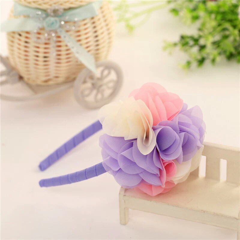 Pink Purple Flower Bouquet Alice Headband