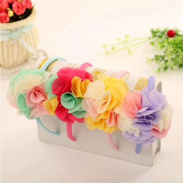 Yellow Rosy Red Flower Bouquet Alice Headband
