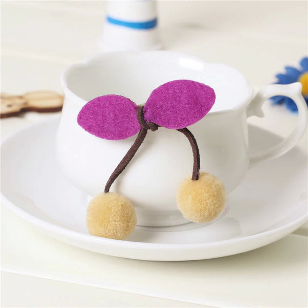 Cherry Pom Pom Hair Ties - Beige, 2 Pack