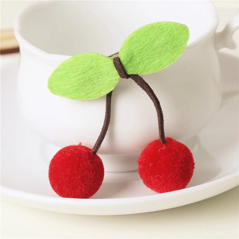 Cherry Pom Pom Hair Ties - Red, 2 Pack