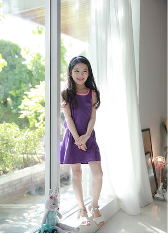Girls Purple Pink Cotton Dress