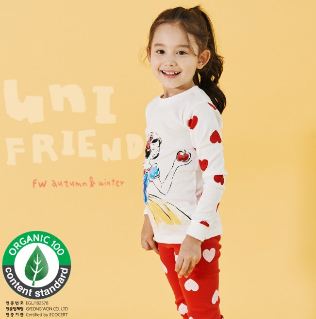 Organic Cotton Long Pyjamas - Snow White ( Ready stock)