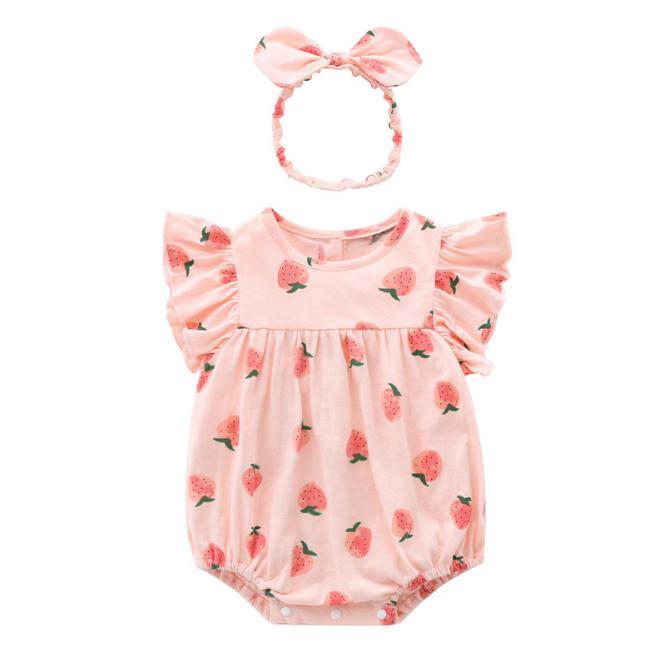 Baby Girl Strawberry Baby Romper with Headband Set - Pink ( Ready stock)
