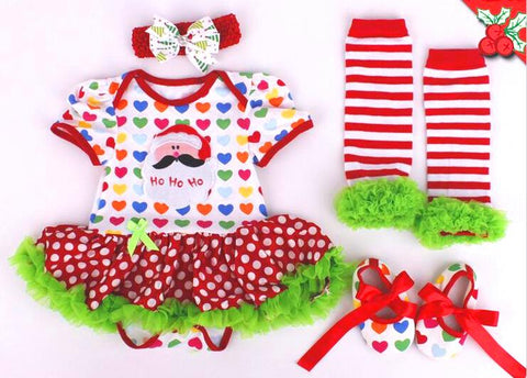 Christmas Baby Rainbow Outfit 2 Piece Set -Heart print bodice