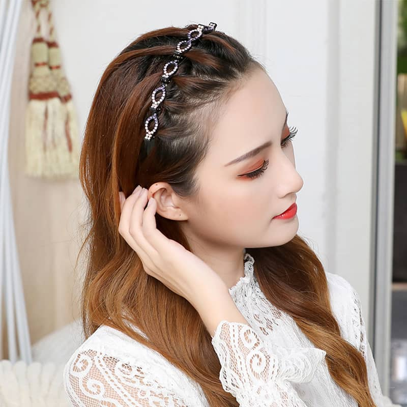 Braided Hair Band Rhinestone Clip