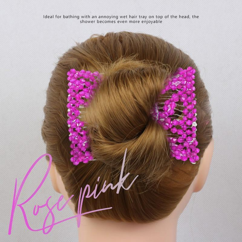 Elastic Beaded Hair Comb Clips