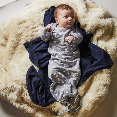 Newcomer Baby Gown-Sleeping Bag-Little Flock of Horrors-0-3 Months-Grey Marle Scribble-Merino & Me