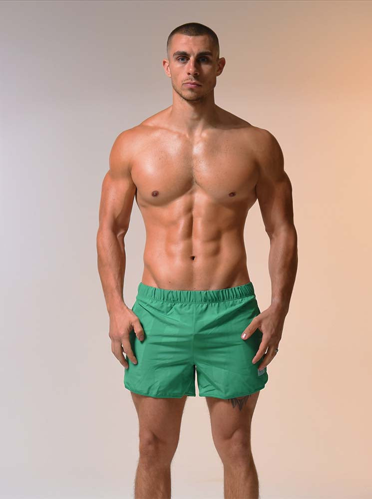 Retro Thigh Cut Shorts - Forest Green