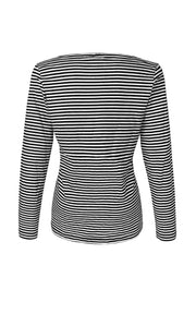 Women's Long Sleeve Striped Skull T Shirt