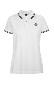 Women's White and Black Tipped Polo Shirt