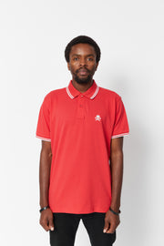 Men's Red and White Tipped Polo Shirt