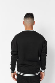 Men's Black Embroidered Crew Neck Sweatshirt