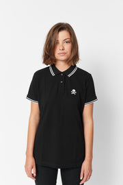 Women's Black and White Tipped Polo Shirt