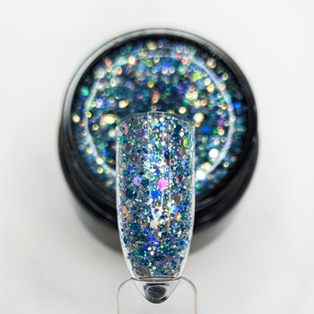 Blue Tide Glitterlustnails UV LED blue metallic holo iridescent glitter gel nail polish swatch