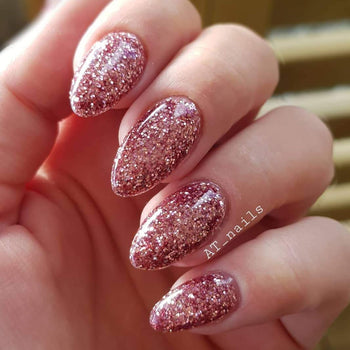 Rosé glitterlust uv led glitter gel polish