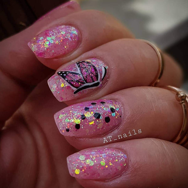 Think pink glitterlust uv led glitter gel polish