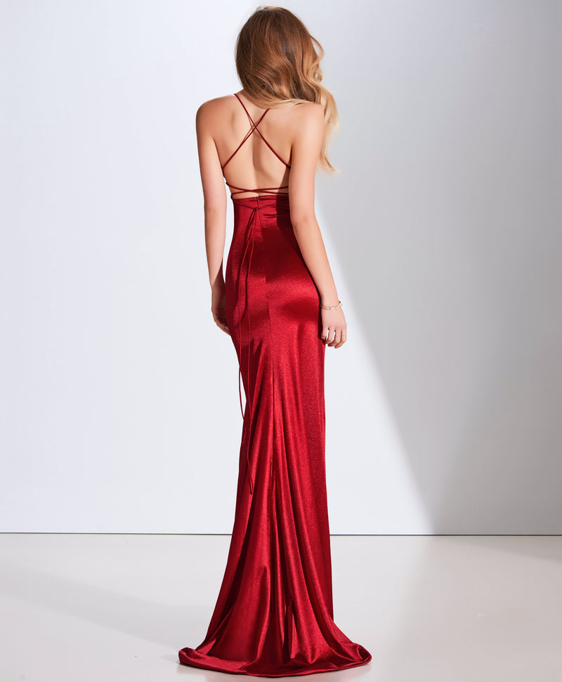 SAMPLE SALE: PASCALE II ROSE SATIN FISHTAIL SILHOUETTE USA 4