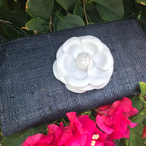 Black Clutch with Silver Lotus Flower