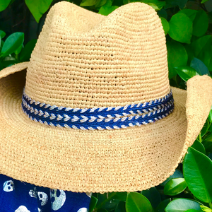 Navy & Silver Wave Cowboy Hat