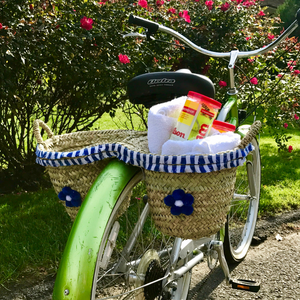 Blue & White Bicycle Basket