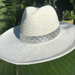 Load image into Gallery viewer, White Panama Hat with Silver Croc