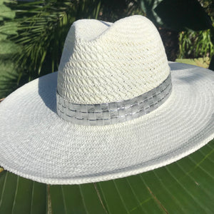 White Panama Hat with Silver Croc