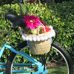 White Pom Bicycle Basket