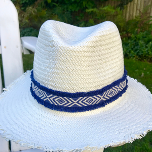 Navy & White Short Brim Hat