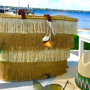 The Shimmy Straw Beach Basket | Tan & Ivory | Large