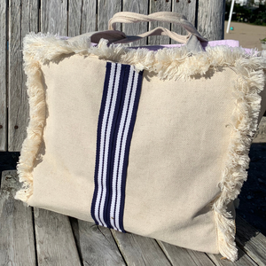 Canvas Fringe Tote | Navy & White Stripe