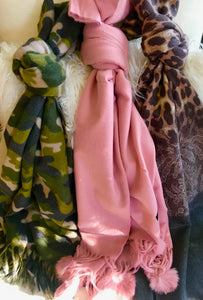 Cozy Scarves : Camouflage, Pink  Wrap - Cashmere Fur Poms, Brown/Grey Leopard