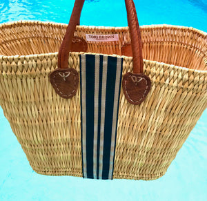 Classic Stripe Straw Tote | Black & Gold