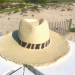 Load image into Gallery viewer, Zebra Ivory Fringe Panama Hat