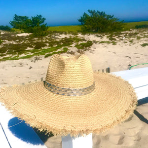 Embossed Silver Wide Brim Panama Hat