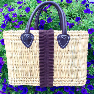 Straw Tote - Brown Suede Fringe