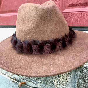 Brown Wool Felt Hat - Brown Suede & Fur