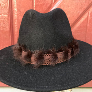 Black Wool Felt Hat - Brown Suede & Fur
