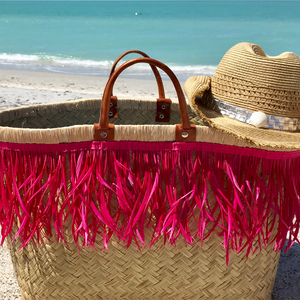 Pink Fringe Beach Bag