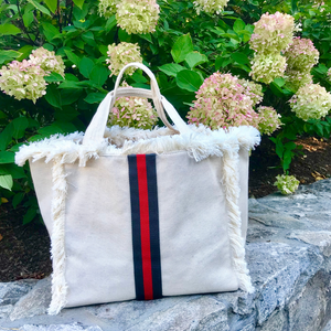 Canvas Fringe Tote | Olive & Red