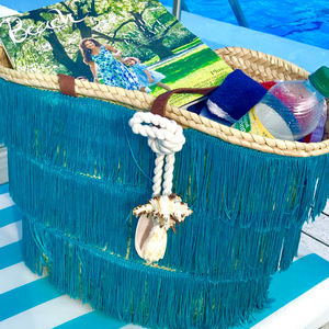 Shimmy Straw Beach Basket | Turqoise | Large