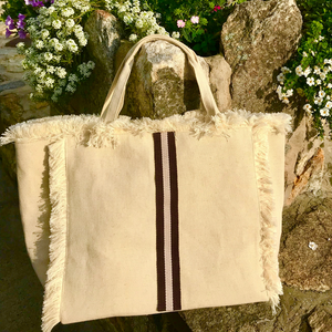 Canvas Fringe Tote | Chocolate & Tan Stripe