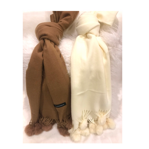 Cashmere Scarves with Fur Poms