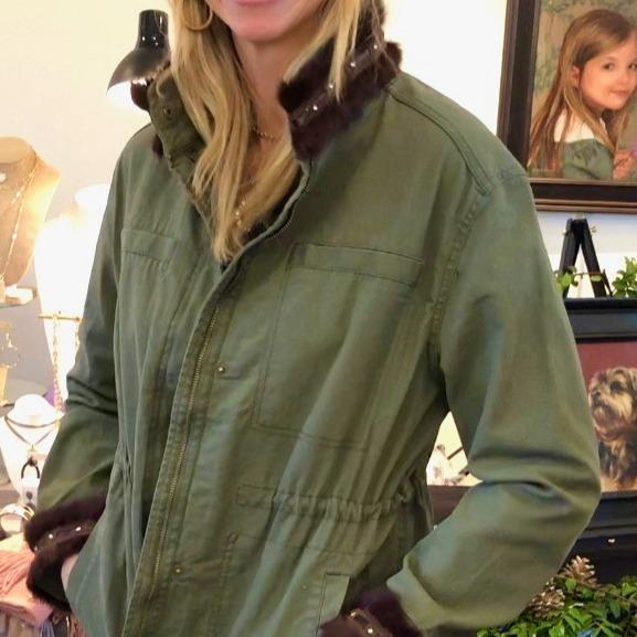 Army Green Field Jacket - Fur Trim Collar & Cuff