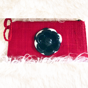 Red Clutch with Black & White Lotus Flower
